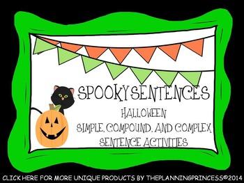 Spooky Compound, Complex,and Simple Sentences:Halloween Center Activity