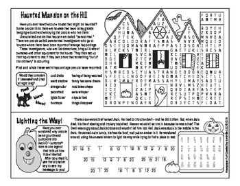 Spooky, Creepy Halloween Two-Page Activity Set