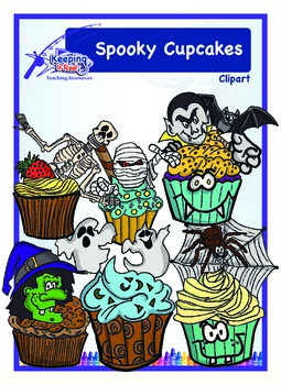 Spooky Cupcakes (black-lined images included)