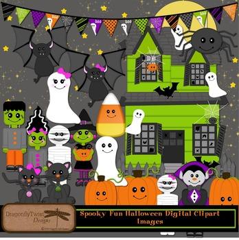 Spooky Cute Halloween Digital Clipart