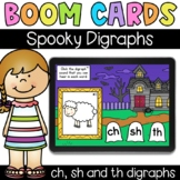 Spooky Digraphs (ch, sh, th) - Digital Task Cards - Boom Cards