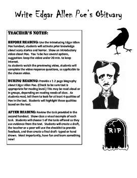 Spooky Edgar Allen Poe Writing Task using Textual Evidence