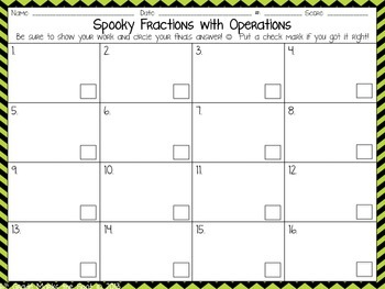 Spooky Fractions: Fractions with All Operations CCSS 5.NF.1, 5.NF.4 & 6.NS.1**