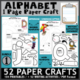 My Alphabet Book of One Page Paper Crafts with Writing Activities