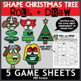 Shape Christmas Trees - 5 Roll and Draw Game Sheets