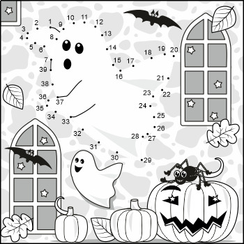 Spooky Ghost Connect the Dots and Coloring Page, CU and Non-CU