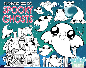 Spooky Ghosts Digital Clipart, Instant Download Vector Art, Commercial Use