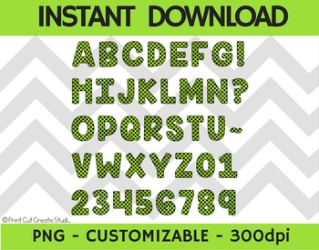 Spooky Green & Black Digital Alphabet Clipart ~ Commercial Use Allowed!