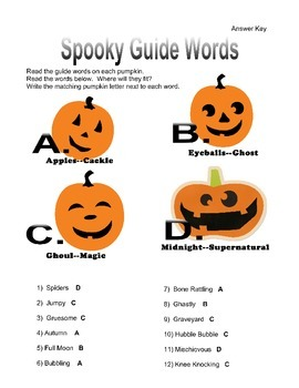 Spooky Guide Words