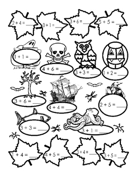 Spooky Halloween Autumn Math Up to 10 Addition Fun Stuff Printable 1pg