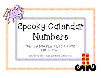Spooky Halloween Calendar Numbers