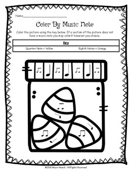 Spooky Halloween Color By Music Note Rhythm Coloring - Quarter/Eighth Notes