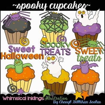 Spooky Halloween Cupcakes Clipart