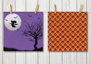Spooky Halloween Digital Paper Backgrounds Haunted House Great Pumpkin