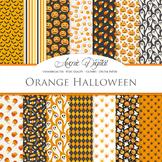 Spooky Halloween Digital Papers - Black and Orange Seamless Pattern Background