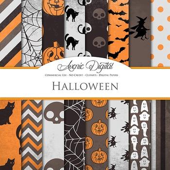 Spooky Halloween Digital Papers - black and orange scrapbook background
