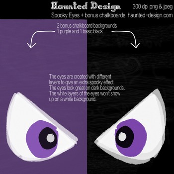 Spooky Halloween Eyes with two dark Chalkboard backgrounds PNG download