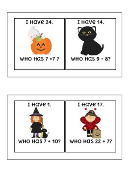Spooky Halloween I Have Who Has Addition and Subtraction within 30