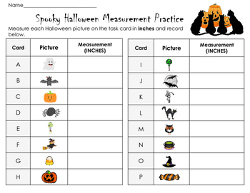 Spooky Halloween Measurement Practice: 16 task cards in metrics and/ or inches