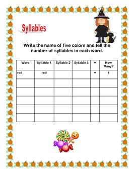 Spooky Halloween Syllables -Grades 2-3