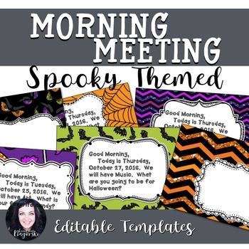 Spooky Halloween Themed Morning Meeting Templates