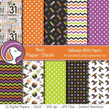 Spooky Halloween Witch Digital Scrapbook Paper Backgrounds Witch Hats Cauldrons