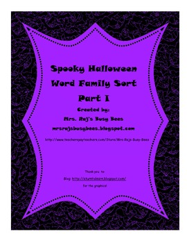 Spooky Halloween Word Family Sort