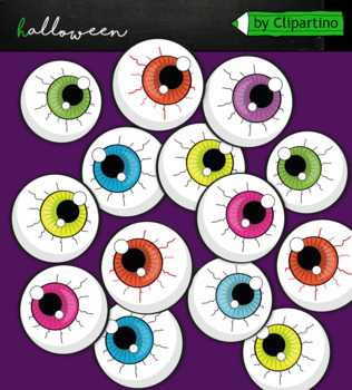 Spooky Halloween Eyes Clipart Commercial Use By Clipartino Tpt