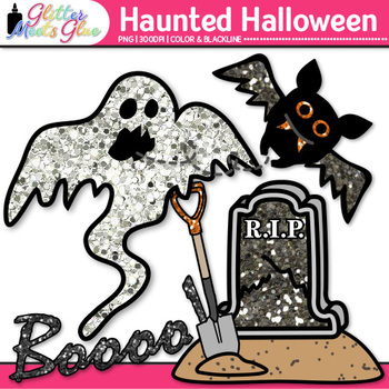 Haunted Halloween Clip Art {Bat, Pumpkin, Spider, Ghost, & Skeleton Graphics}