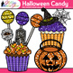 Halloween Candy Clip Art {Glitter Candied Apples, Cupcake, Lollipops, & Mints}