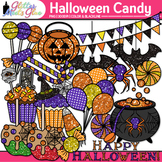Halloween Candy Clip Art | Glitter Candied Apples, Cupcake, Lollipops, & Mints