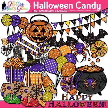 Halloween Candy Clip Art: Spooky Party Graphics {Glitter Meets Glue}