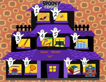 """Spooky Hoots """"vowel digraph- oo"""" word recognition game"""