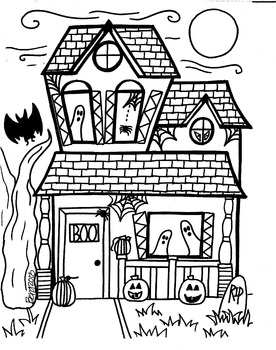 Spooky House Coloring Sheet