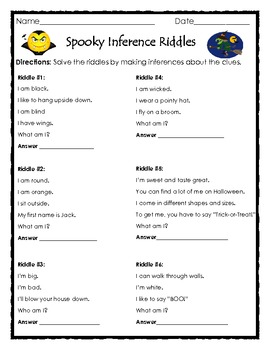 Spooky Inference Riddles - Fun Halloween Printable by The Teacher ...