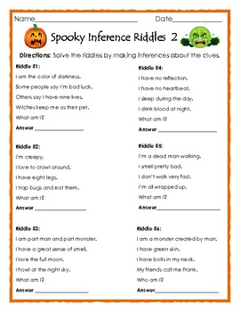 Spooky Inference Riddles 2 - Halloween Printable for ELA