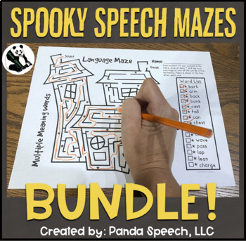 Spooky Language Articulation Mazes BUNDLE: A Speech Therapy Activity