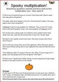 Spooky Math Multiplication word problems