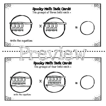 Spooky Math Task Cards Multiplication by 2s