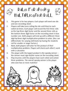 Halloween Math Game - Multiplication Roll