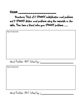 Spooky Multiplication Word Problems