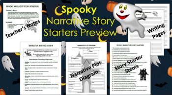 Spooky Narrative Story Starters & Plot Diagram, Grades 4-8