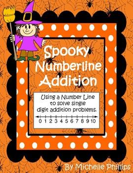 Spooky Number Line Addition - Single Digit Worksheets