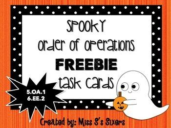 Spooky Order of Operations Task Cards FREEBIE