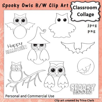 Spooky Owls Clip Art - B/W Line Drawings - personal & commercial use