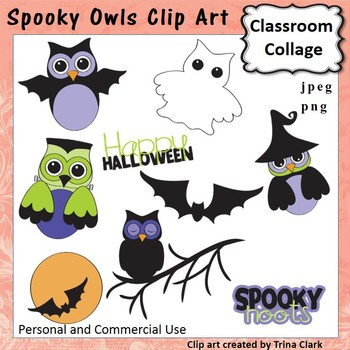Spooky Owls Clip Art - Color - personal & commercial use