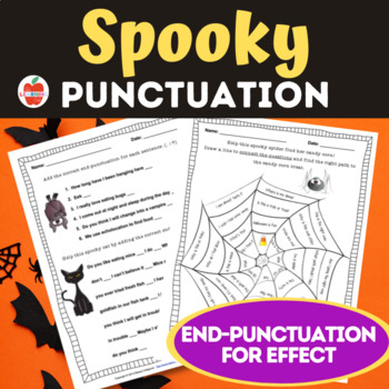 Spooky Halloween--Using End Punctuation for Effect! Posters, Worksheets