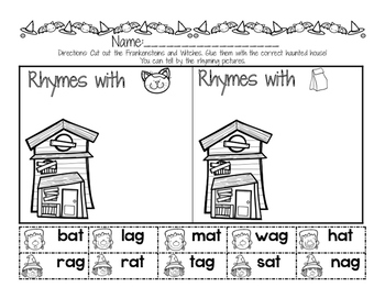 Spooky Rhymes { Short Vowel Printables}