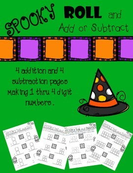 Roll and Add or Subtract - Halloween