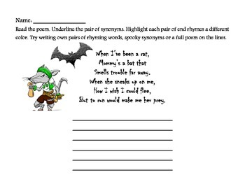 Spooky, Scary Synonyms - Word Choice Writing Practice
